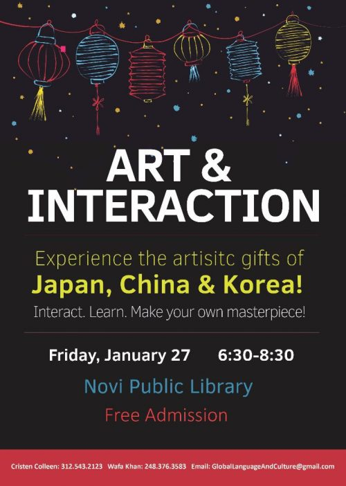 Art & Interaction, Jan 27 at Novi Public Library