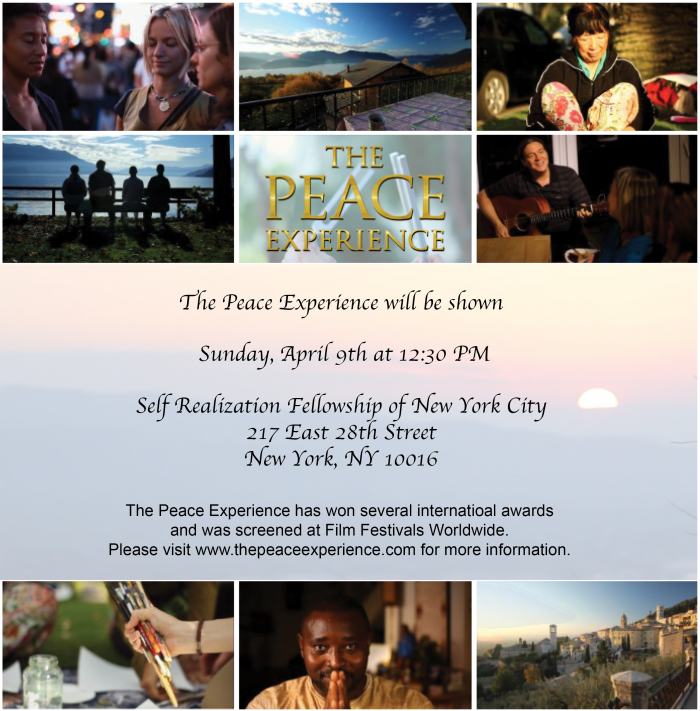 The Peace Experience in NYC, April 9, 12:30 PM