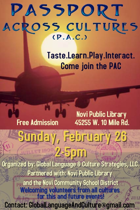 The Peace Experience at Passport Across Cultures, Feb 26, Novi, MI